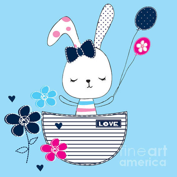 Lovely Wall Art - Digital Art - Cute Bunny Girl With Balloon And by Lianna Graphics