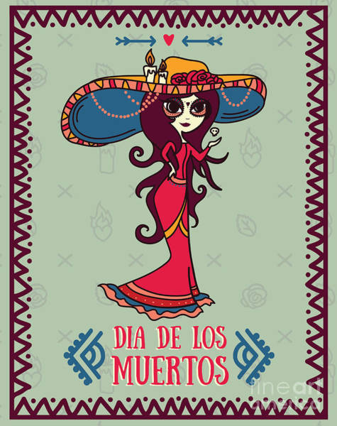 Wall Art - Digital Art - Cute Card For Dia De Los Muertos by Happy fox art