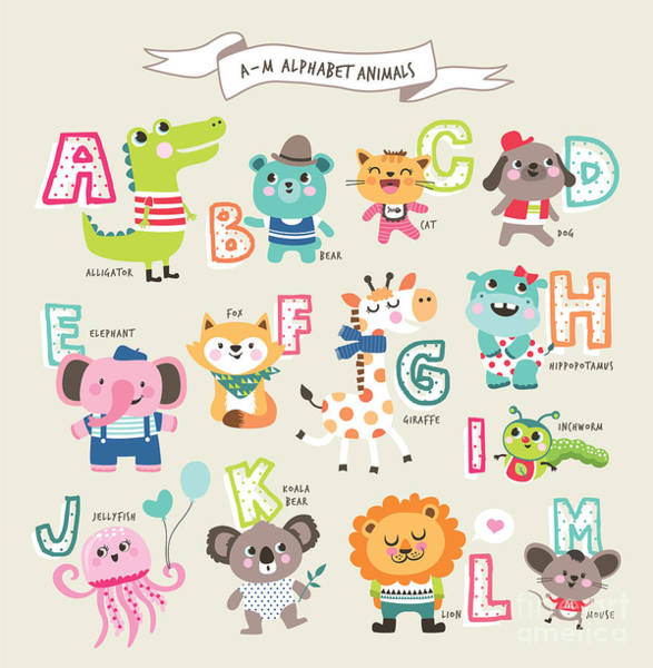 Baby Lions Wall Art - Digital Art - Cute Cartoon Animals Alphabet From A To by Littlewhale