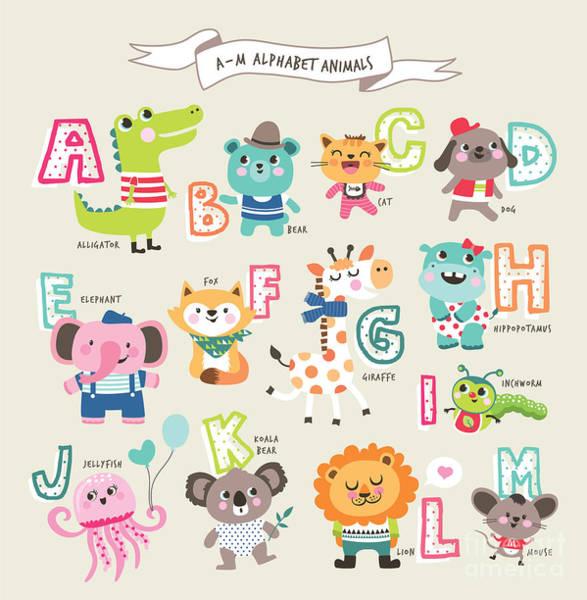 Wall Art - Digital Art - Cute Cartoon Animals Alphabet From A To by Littlewhale