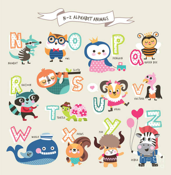 Wall Art - Digital Art - Cute Cartoon Animals Alphabet From N To by Littlewhale