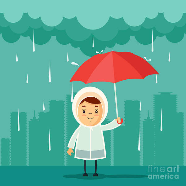 Stylized Wall Art - Digital Art - Cute Cartoon Kid With Umbrella Standing by Stickerama