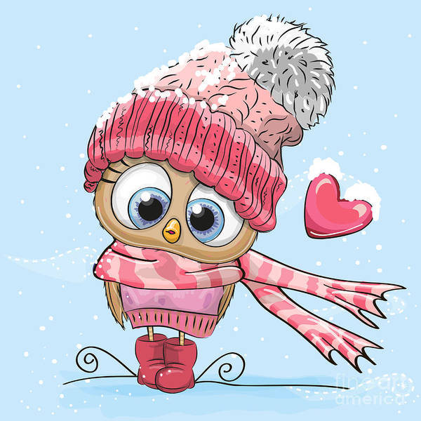 Celebration Digital Art - Cute Cartoon Owl In A Hat And Scarf by Reginast777