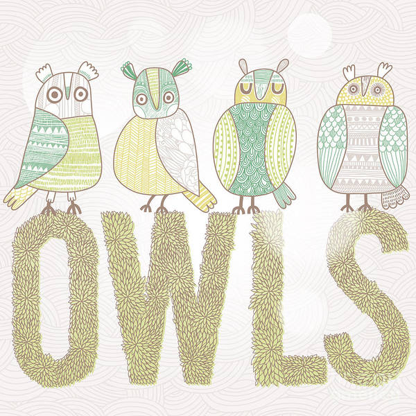 Amusing Wall Art - Digital Art - Cute Cartoon Owls In Vector With Text by Smilewithjul