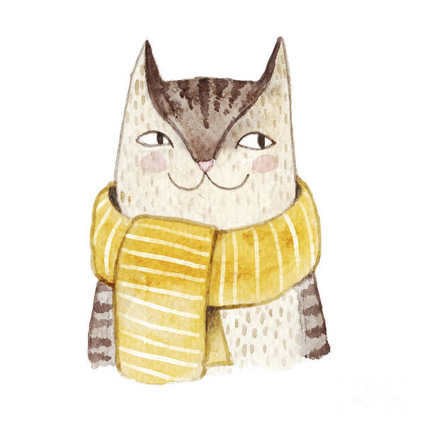 Card Wall Art - Digital Art - Cute Cat In Scarf . Watercolor by Maria Sem