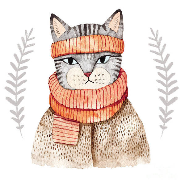 Pastel Portrait Wall Art - Digital Art - Cute Cat In Scarf .illustration With by Maria Sem