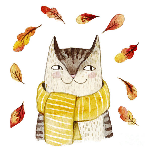 Mammal Digital Art - Cute Cat In Scarf With Autumn Leaves by Maria Sem