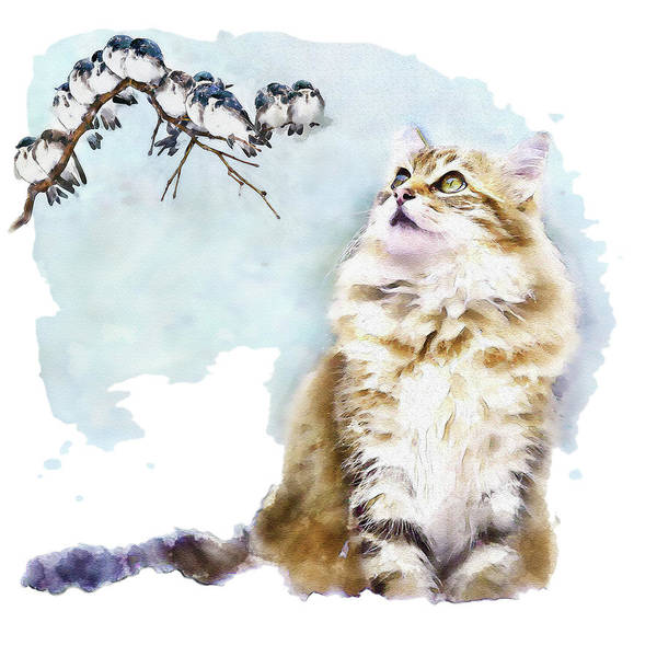 Zoology Painting - Cute Cat On The Lurk by Marian Voicu