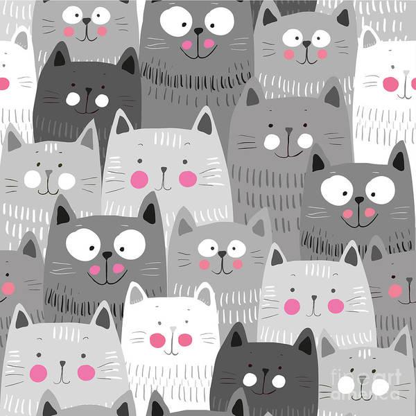 Wall Art - Digital Art - Cute Cats Colorful Seamless Pattern by Marianna Pashchuk