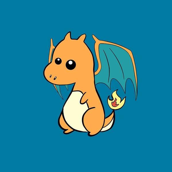 Pokemon Wall Art - Digital Art - cute Charizard T-Shirt by Uwaki Art