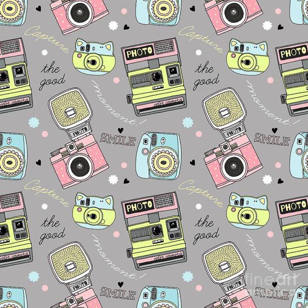 Package Wall Art - Digital Art - Cute Doodle Camera Print, Seamless by Olga angelloz