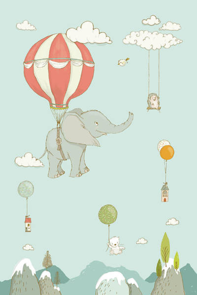Painting - Cute Elephant Floating In The Sky Whimsical Art For Kids by Matthias Hauser