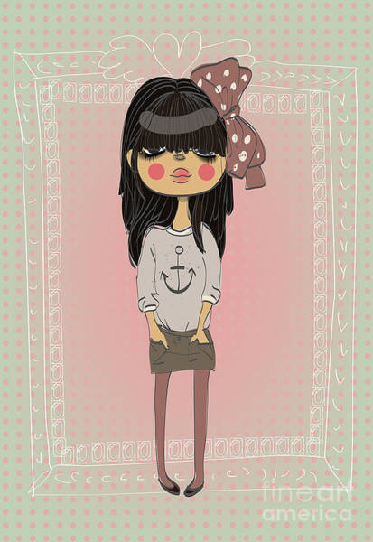 Daughter Digital Art - Cute Fashion Little Girl With Frame by Elena Barenbaum