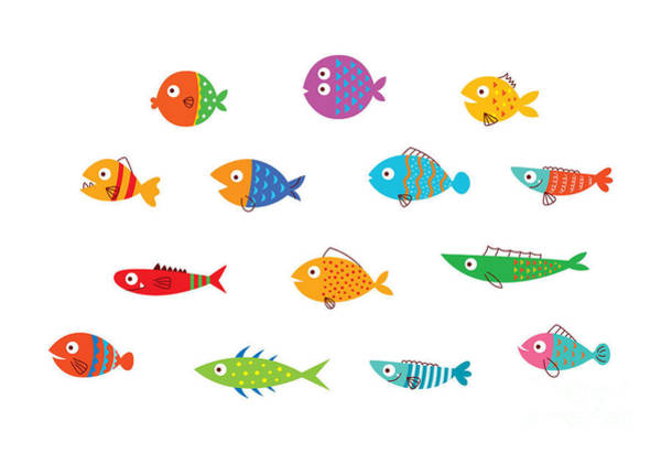 Wall Art - Digital Art - Cute Fish Vector Collection by Judilyn