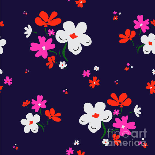 Small Wall Art - Digital Art - Cute Floral Pattern In Vector by Workingpens