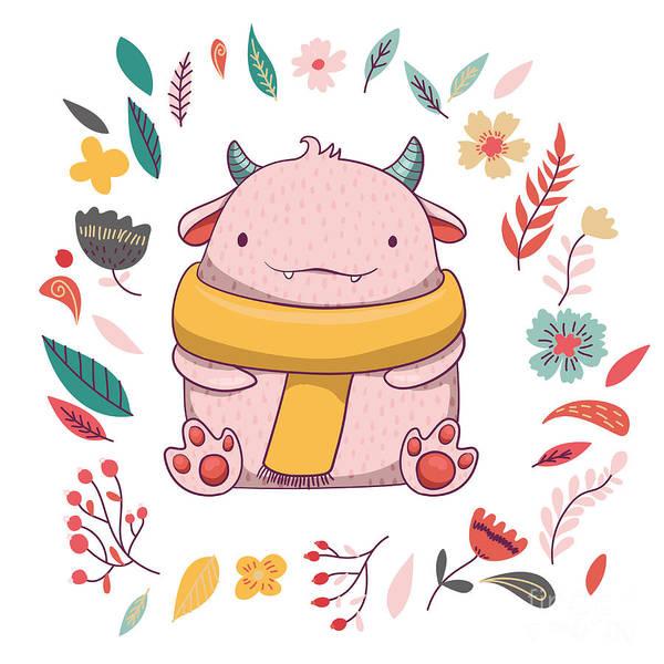 Witty Wall Art - Digital Art - Cute Fluffy Monster With Horns by Maria Sem