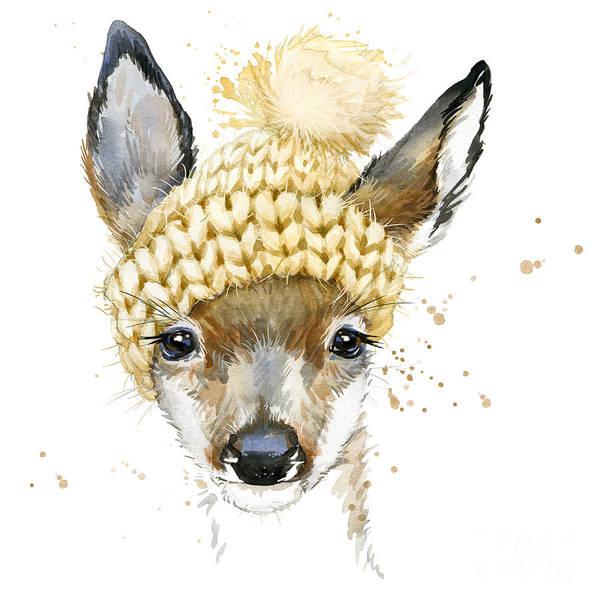 Wall Art - Digital Art - Cute Forest Deer. Watercolor Drawing by Faenkova Elena