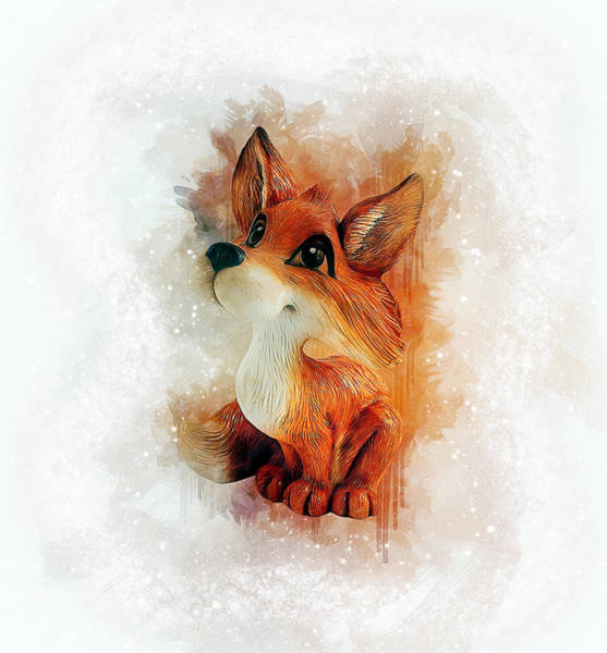 Drawing - Cute Fox by Ian Mitchell