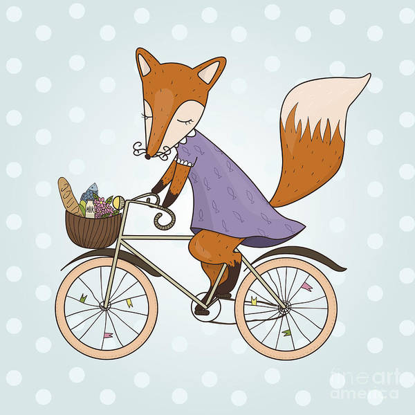 Wall Art - Digital Art - Cute Fox Riding On A Bicycle .bicycle by Maria Sem