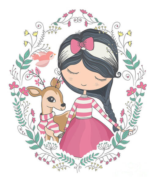 Valentines Digital Art - Cute Girl And Little Deer Vector Design by Studiolondon