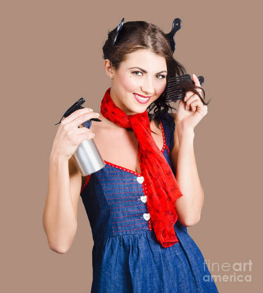 Hairstyle Photograph - Cute Girl Model Styling A Hairdo. Pinup Your Hair by Jorgo Photography - Wall Art Gallery