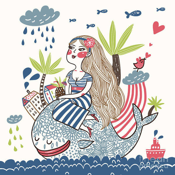 Young Adult Wall Art - Digital Art - Cute Girl On A Whale In Cartoon Style by Smilewithjul