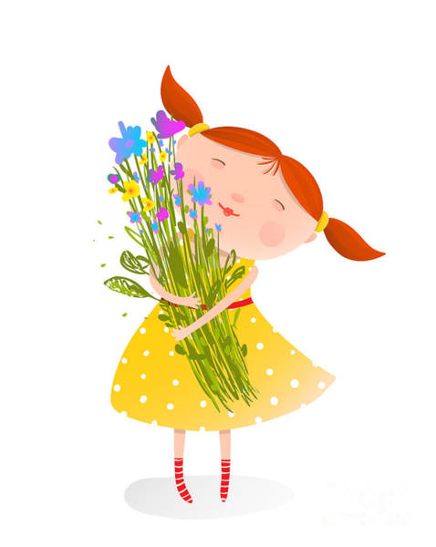 Wall Art - Digital Art - Cute Girl With Bouquet Of Flowers by Popmarleo