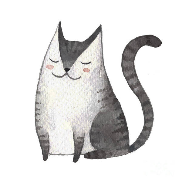 Card Wall Art - Digital Art - Cute Gray Cat. Watercolor Kids by Maria Sem