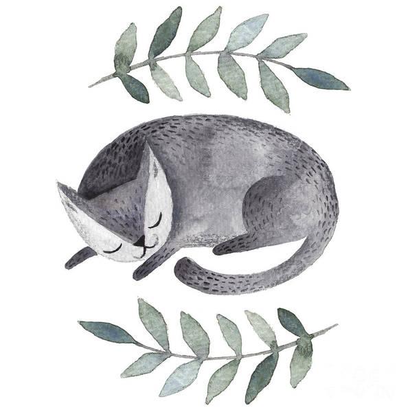Hand Painted Wall Art - Digital Art - Cute Gray Sleeping Cat. Watercolor Kids by Maria Sem