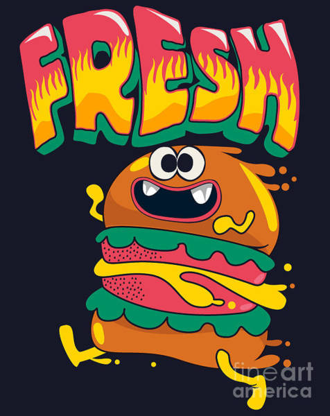 Bread Wall Art - Digital Art - Cute Hamburger Is Running, Vector by Braingraph