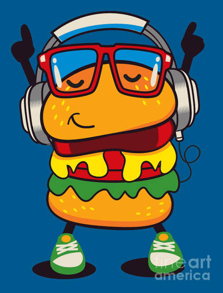 Bread Wall Art - Digital Art - Cute Hamburger Vector Design by Braingraph