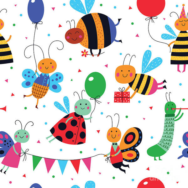 Wall Art - Digital Art - Cute Insects Have A Party. Cartoon by Alena Razumova