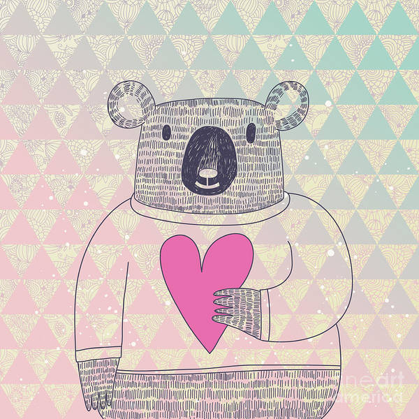 Friendly Wall Art - Digital Art - Cute Koala Bear In Hipster Style. Funny by Smilewithjul