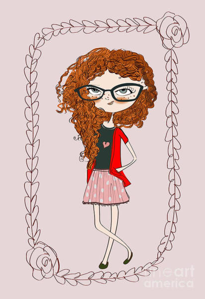 Daughter Digital Art - Cute Little Fashion Girl With Doodle by Elena Barenbaum
