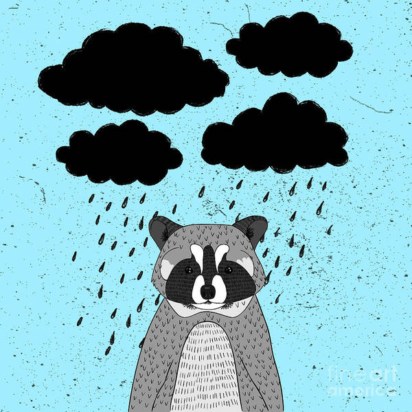 Wall Art - Digital Art - Cute Little Raccoon With Rainy Clouds by Maria Sem