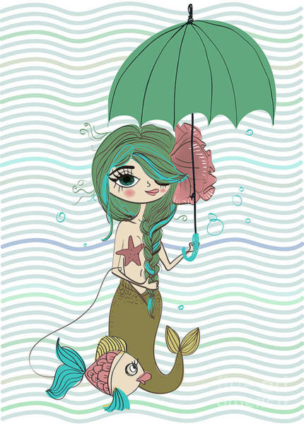 Wall Art - Digital Art - Cute Mermaid With Umbrella by Elena Barenbaum