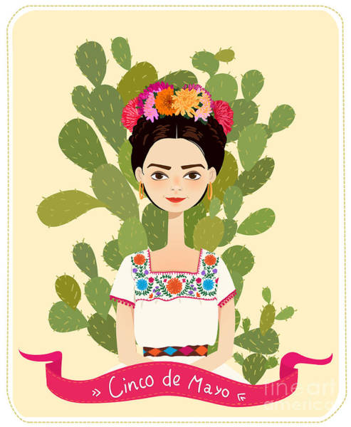Stylized Wall Art - Digital Art - Cute Mexican Girl In An Ancient Dress by Salvadorova