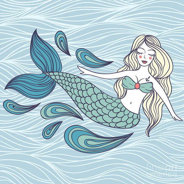 Wall Art - Digital Art - Cute Mystical Mermaid.deep Ocean.vector by Maria Sem