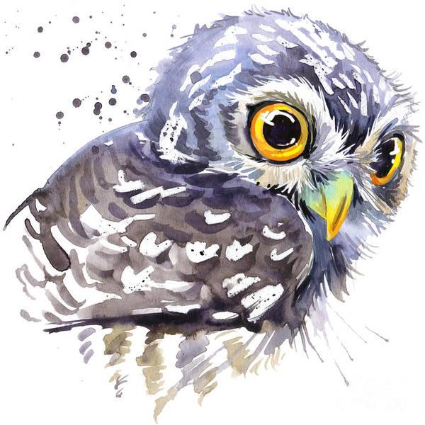 Wall Art - Digital Art - Cute Owl. Watercolor Illustration by Faenkova Elena