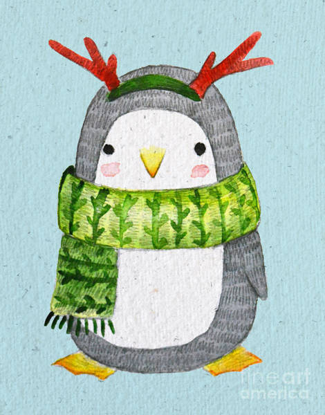 Wall Art - Digital Art - Cute Penguin In Scarf. Watercolor by Maria Sem