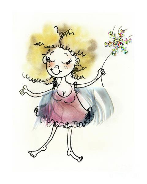 Wall Art - Drawing - Cute Pink Fairy by Angel Ciesniarska