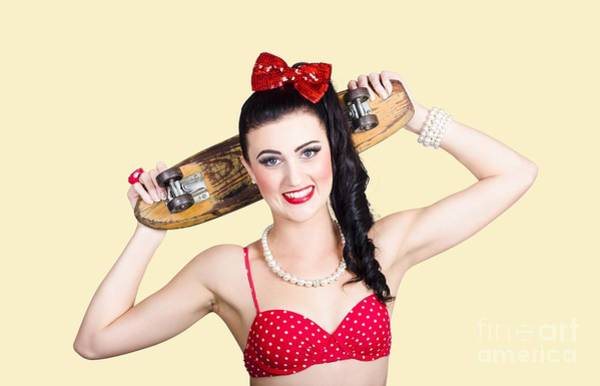 Skater Photograph - Cute Pinup Skater Girl In Punk Glam Fashion by Jorgo Photography - Wall Art Gallery