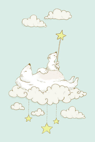 Painting - Cute Polar Bears On Cloud Whimsical Art For Kids by Matthias Hauser