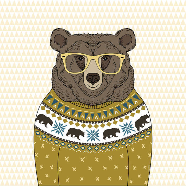 Wall Art - Digital Art - Cute Portrait Of Bear In Jacquard by Olga angelloz