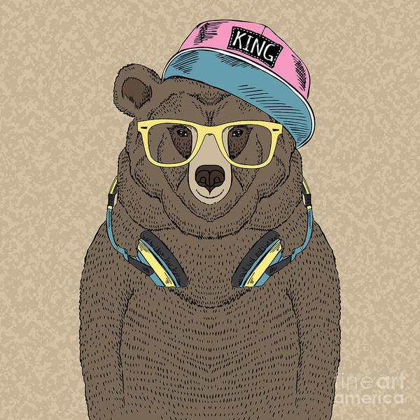 Hip Wall Art - Digital Art - Cute Portrait Of Bear With Headphones by Olga angelloz
