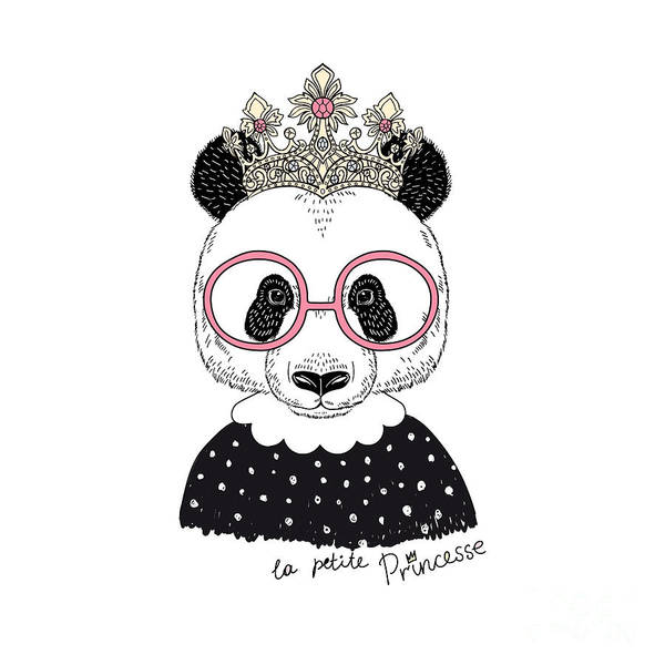 Cute Portrait Of Panda Princess, Hand Art Print by Olga angelloz