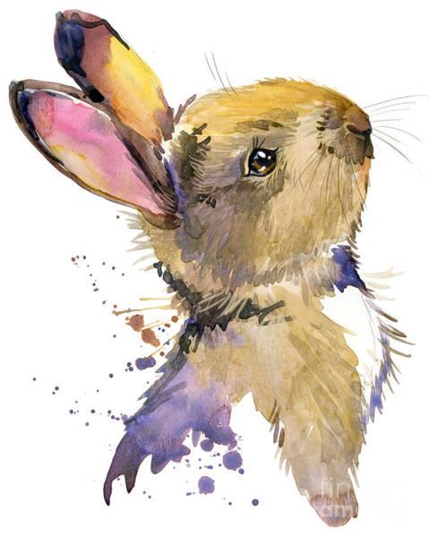 Hand Painted Wall Art - Digital Art - Cute Rabbit. Hare. Watercolor by Faenkova Elena