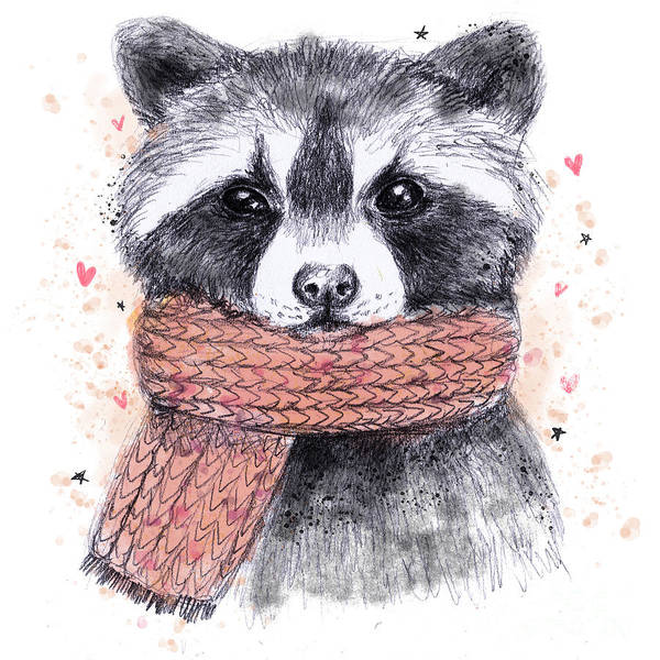 Red Heart Digital Art - Cute Raccoon With Scarf , Sketchy by Maria Sem