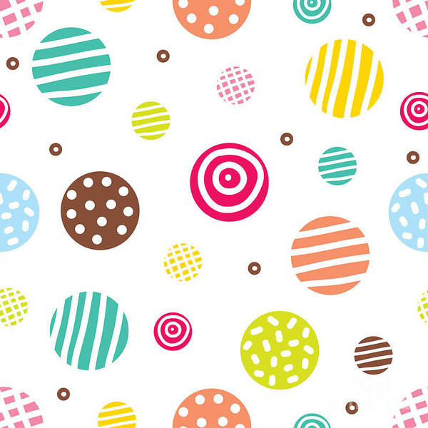 Polka Wall Art - Digital Art - Cute Seamless Pattern, Polka Dot by Vyazovskaya Julia