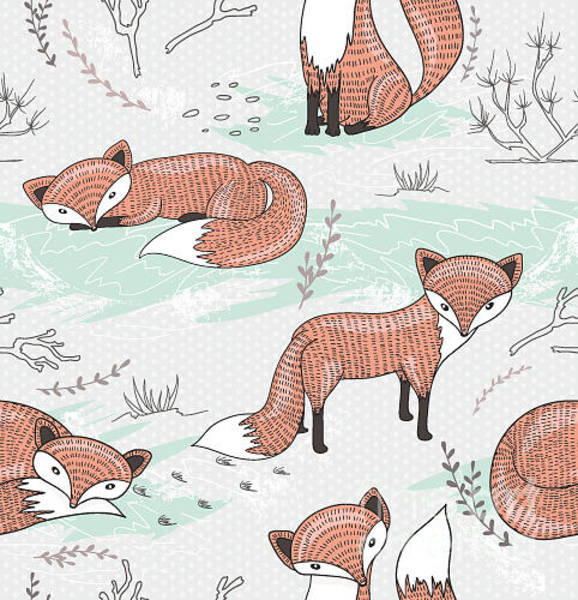 Dots Wall Art - Digital Art - Cute Seamless Pattern With Little Foxes by Dovile Kuusiene